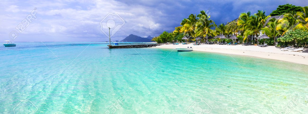 Amazing white beaches of Mauritius island.Tropical vacation. - 68053072