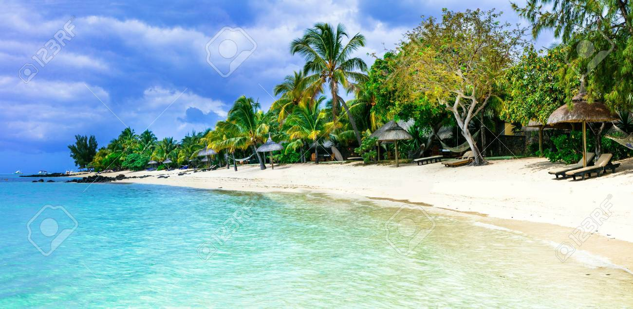 Tropical paradise in Mauritius island.Le Morne beach. - 68053111