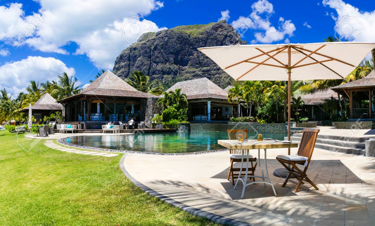tropical vacations. Swimming pool and lounge bar in Mauritius..