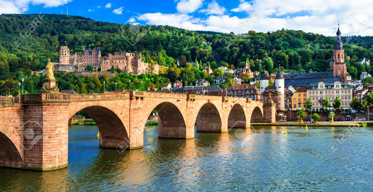 Panoramic view of Heidelberg town,old bridge and houses,Germany. - 78247819