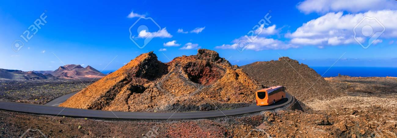Impressive Timinfaya National Park, volcanic landcsape, Lanzarote island, Canary, Spain. - 80819889