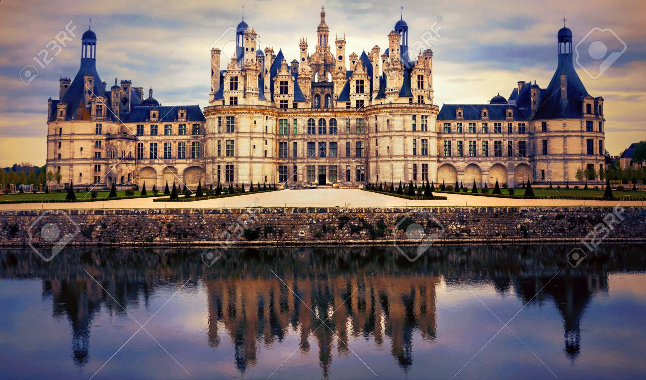 Magnificent historic monument over sunset, Chambord, Loire valley, France - 81386754