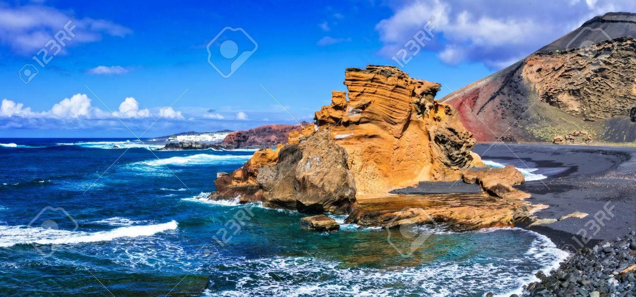 Beautiful Lanzarote island, black sand and volcanic rocks, Canary island, Spain. - 81703873
