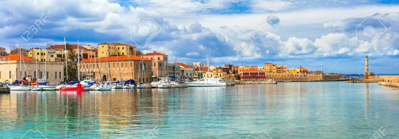 Colorful Chania town, Crete island, Greece. - 95876754