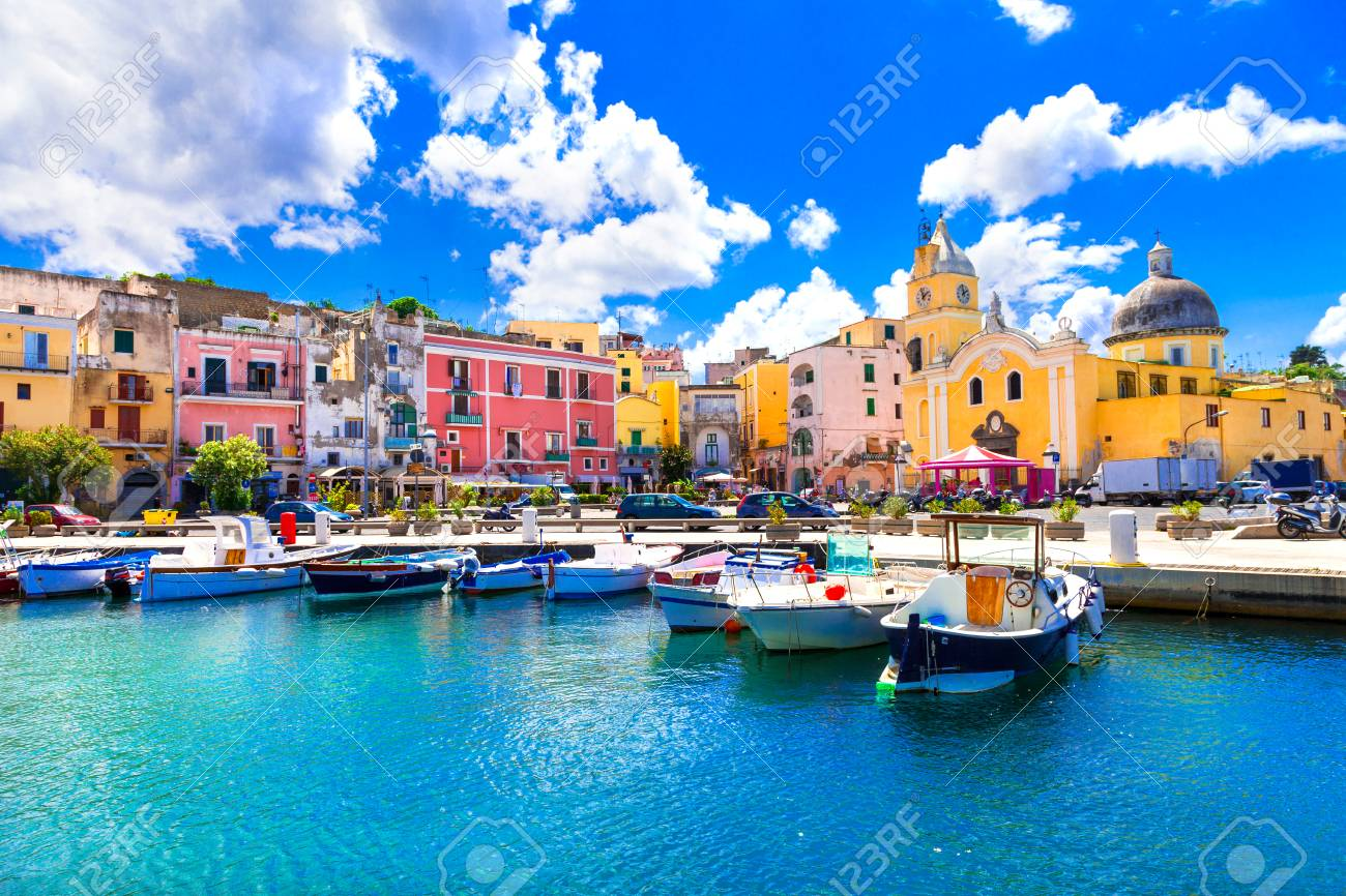 Traditional Procida village, view with colorful houses, Campania, Italy. - 98960284