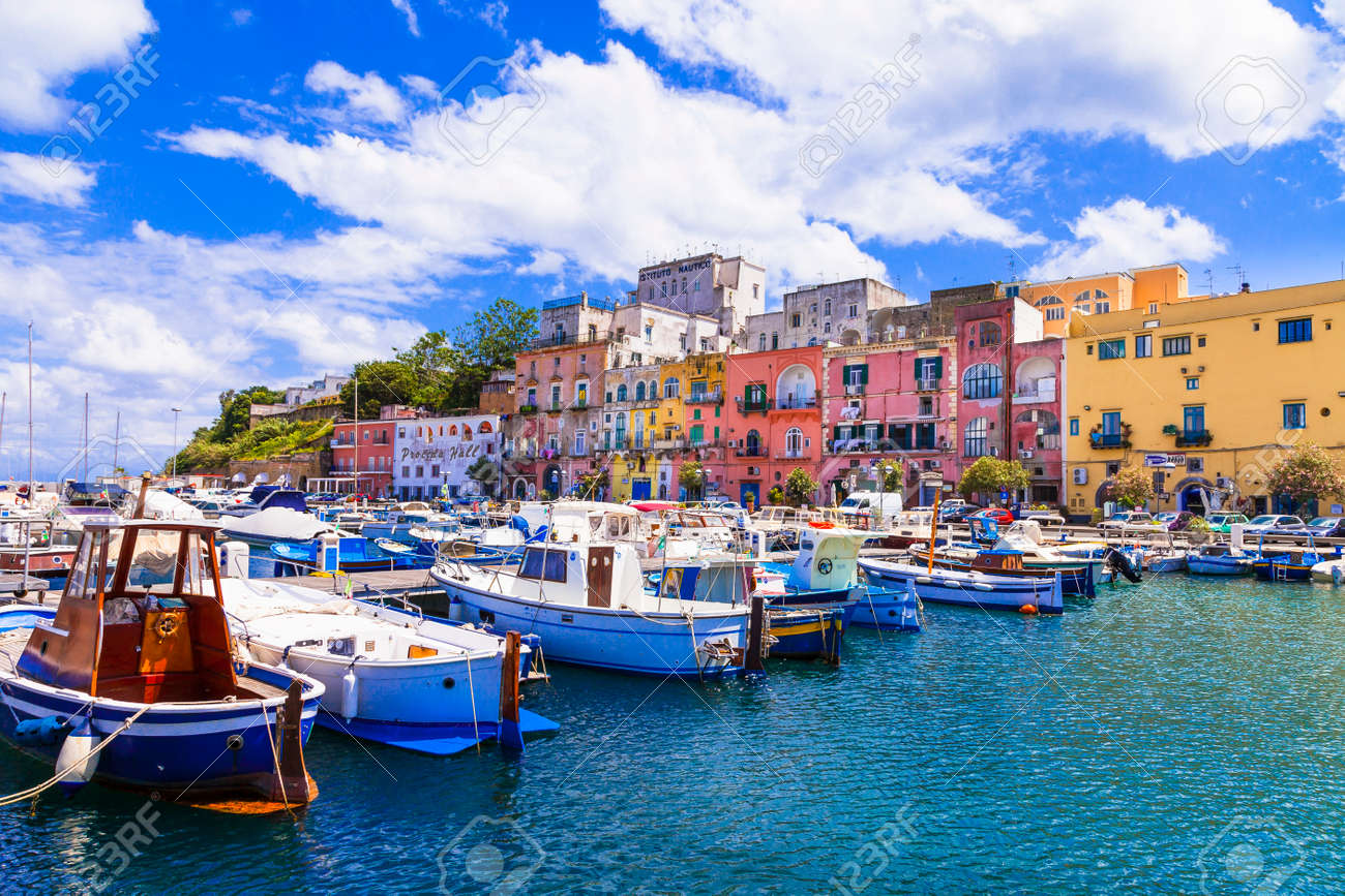 Colorful charming island Procida with traditional wooden fishing boats. Italy May 2013 - 166895322
