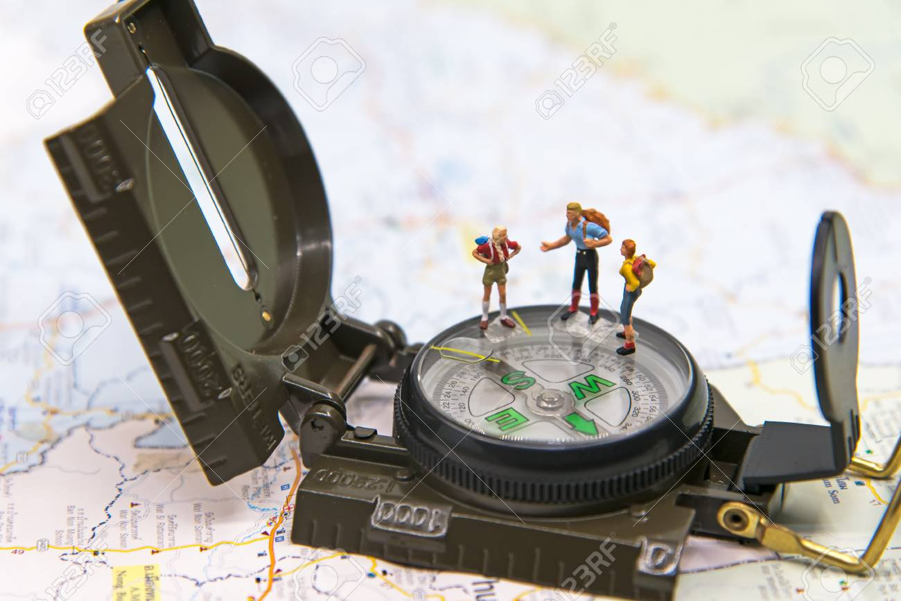 Miniature Group traveler with backpack standing on wold map for travel around the world. Travel Concept - 88598974