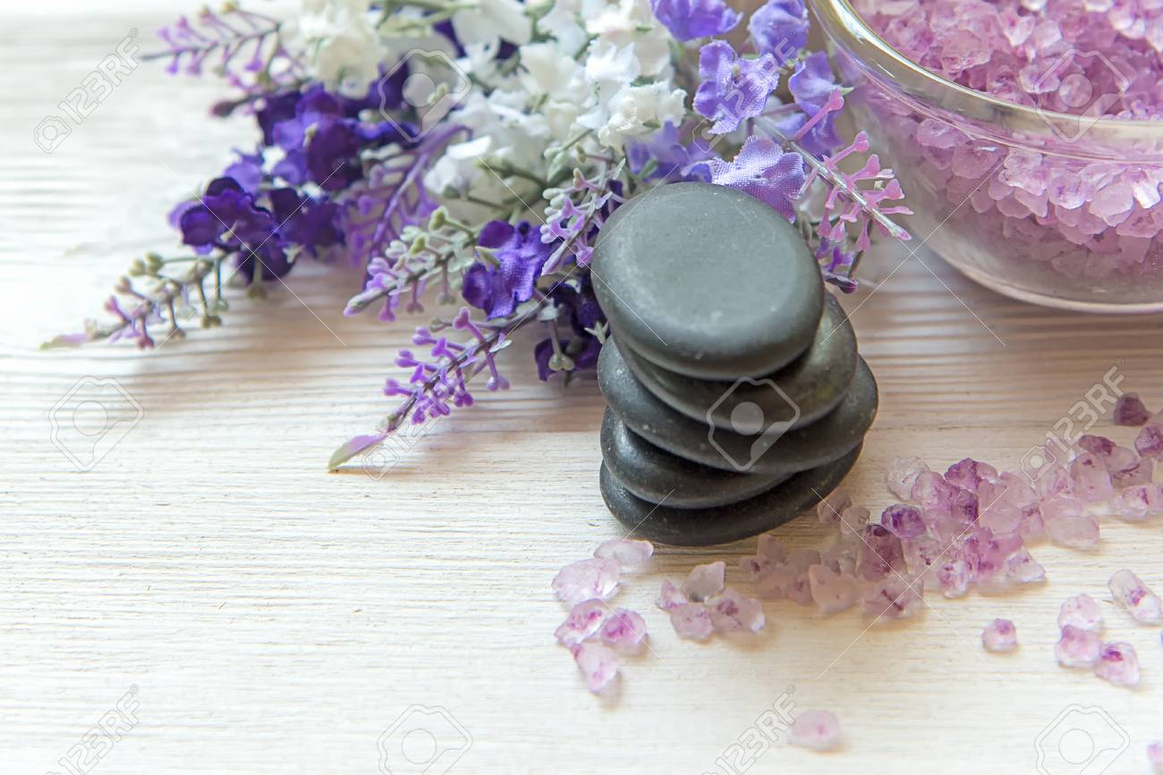 Lavender Aromatherapy Spa With Rock Spa And Candle Thai Spa Stock Photo Picture And Royalty Free Image Image 101529805
