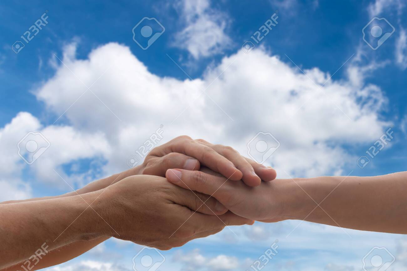 People woman and man holding hands to together take care and help tenderness protection - 149516554