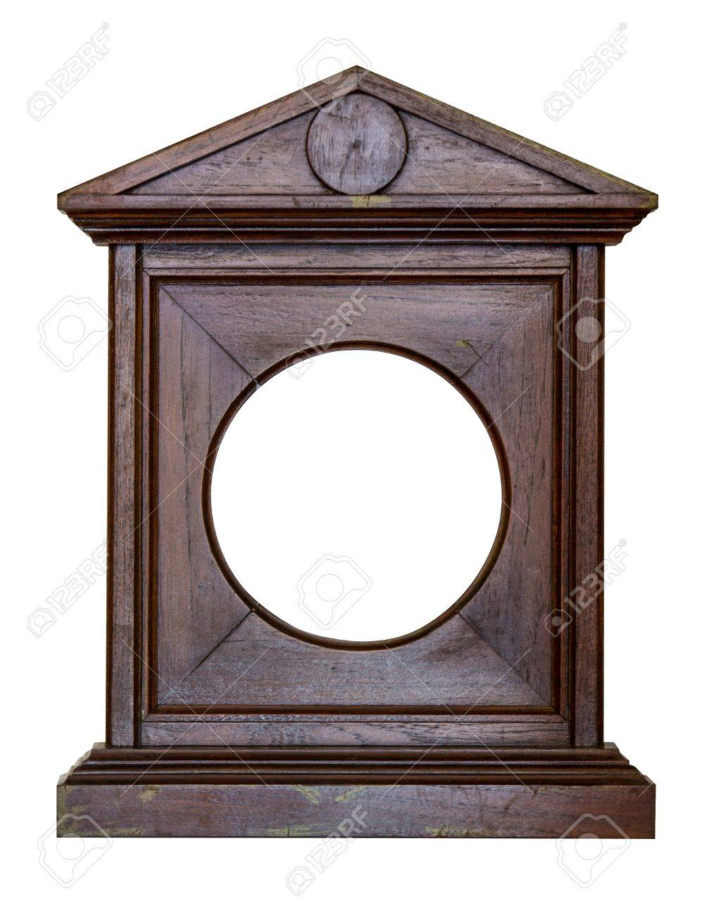 stock photo old wood frame photo frame clock brown