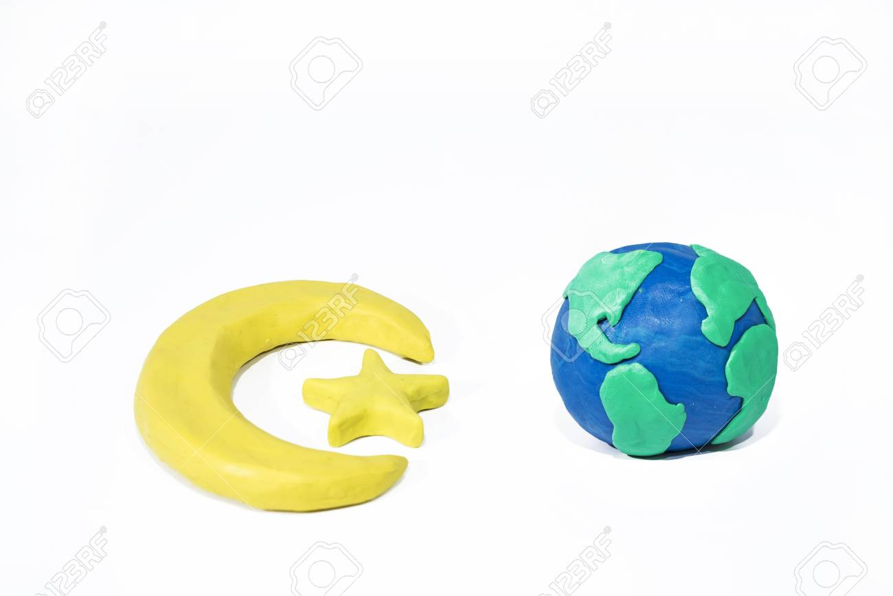Symbols Of Islam Objects Made From Play Clay Abstract Isolated