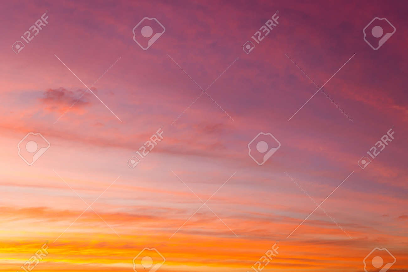 colorful dramatic sky with cloud at sunset - 126870131