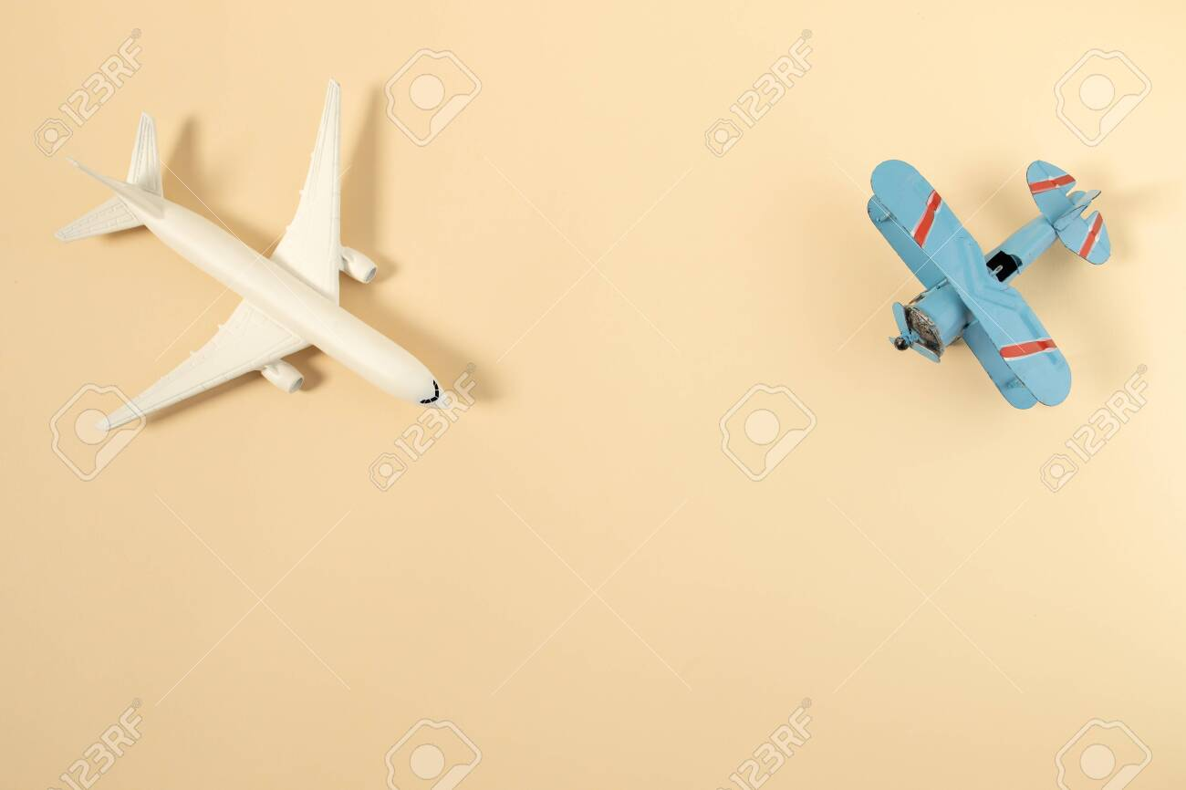 - Model Plane,airplane On Pastel Color Background Stock Photo