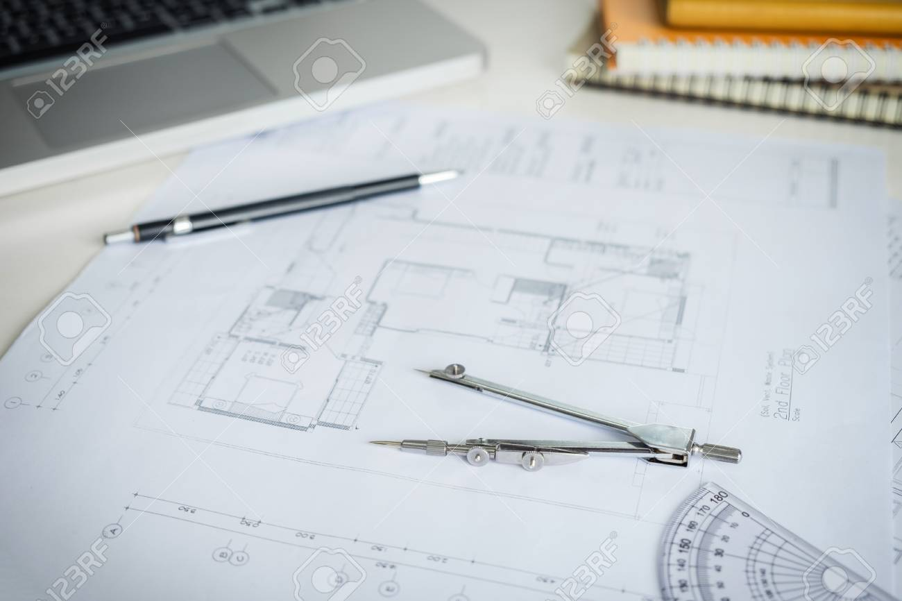 Blueprint paper drafting project sketch architectural dividers blueprint paper drafting project sketch architectural dividers ruler engineering tools on workplace malvernweather Image collections