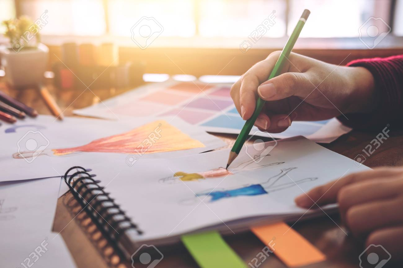 Close Up Of Professional Fashion Designer Working And Drawing Stock Photo Picture And Royalty Free Image Image 89664825
