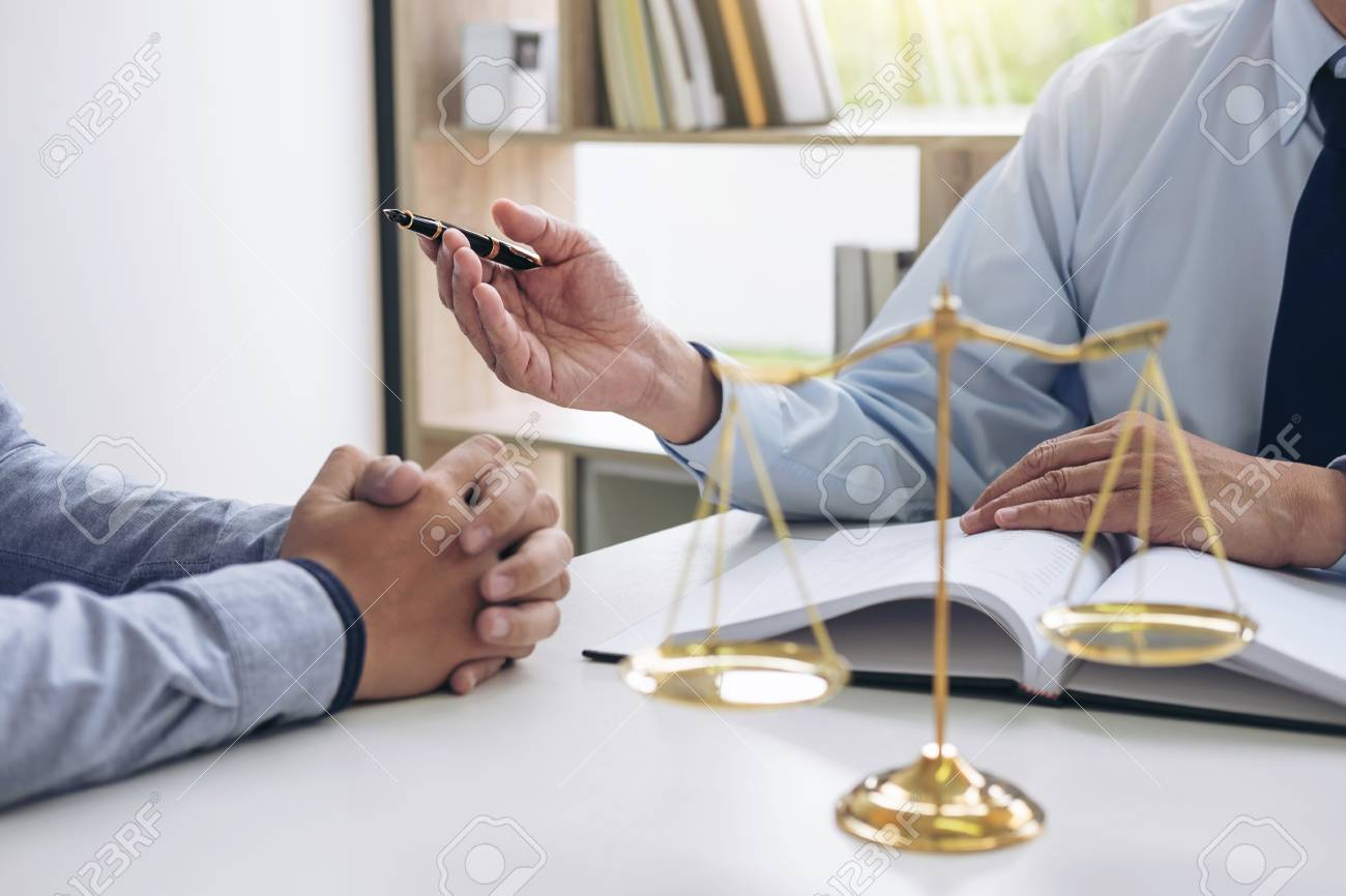 Judge gavel with scales of justice, Business people and male lawyers discussing contract papers at law firm in office. Concepts of law. - 91314758