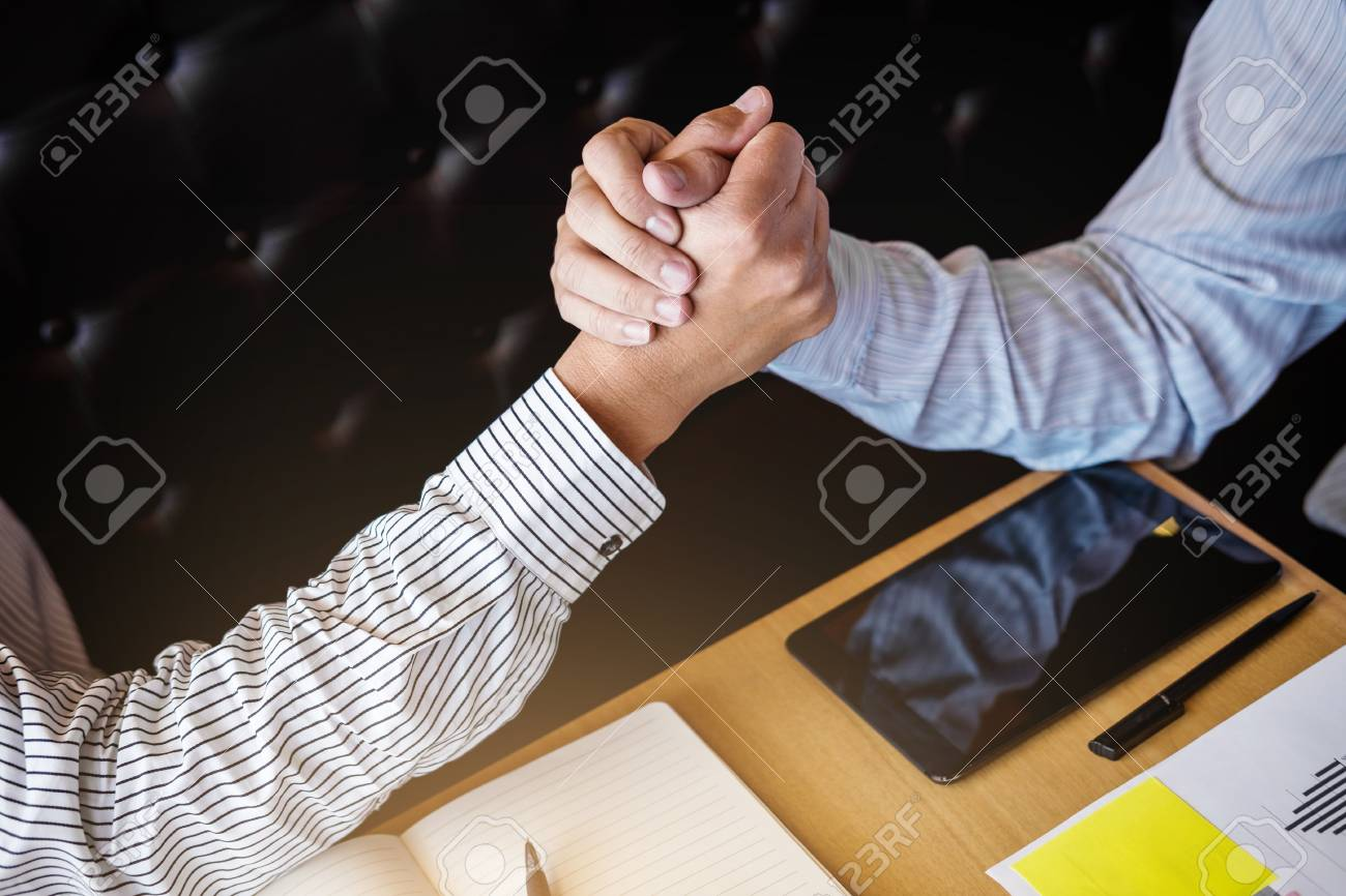 Meeting And Greeting Concept Two Confident Business Handshake And