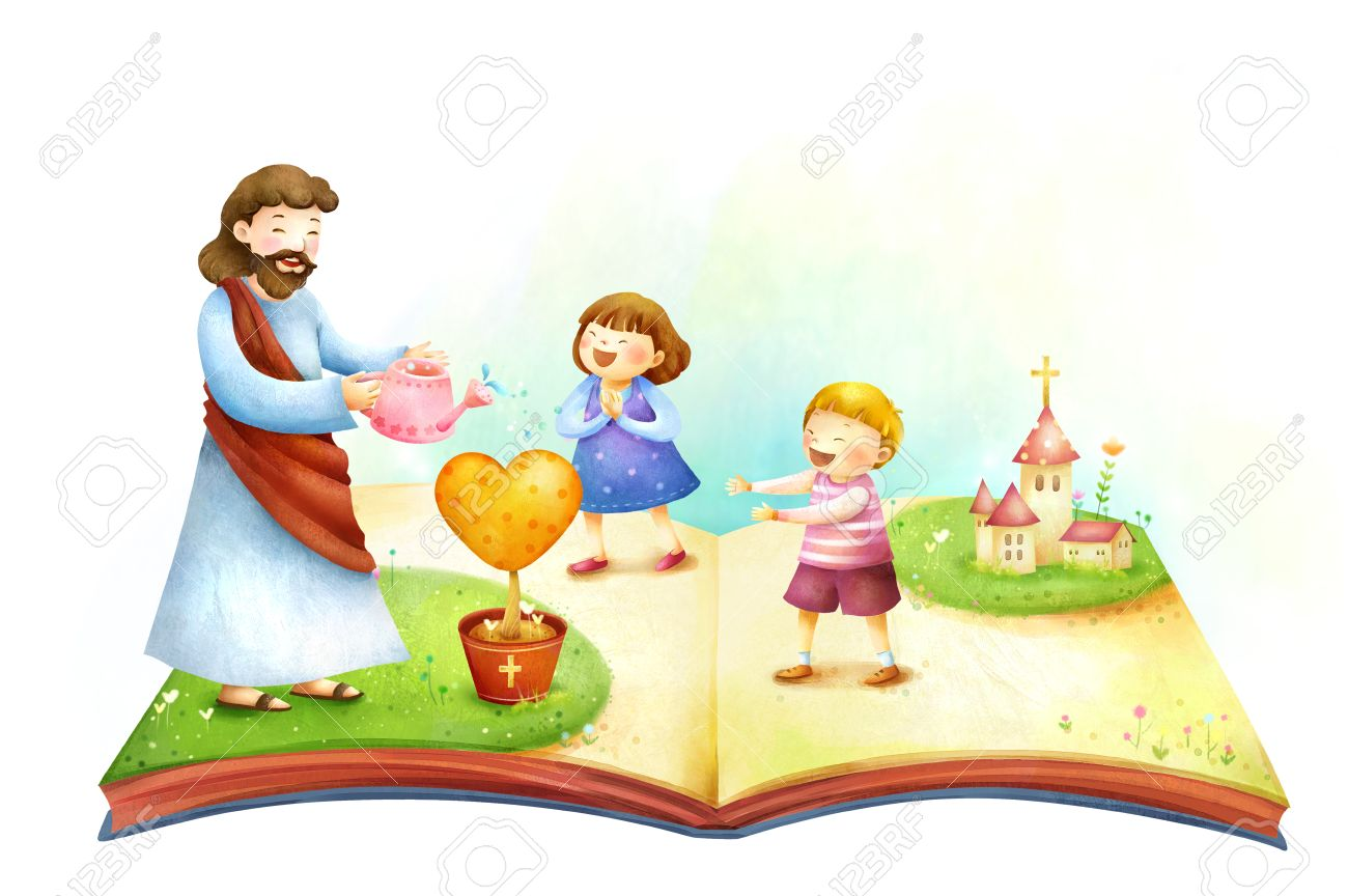 lord jesus christ watering plant with children standing with