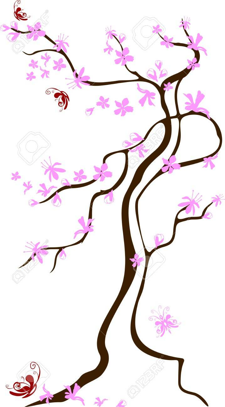 Blossoming tree with butterflies flying round it on a white background Stock Vector - 7123280