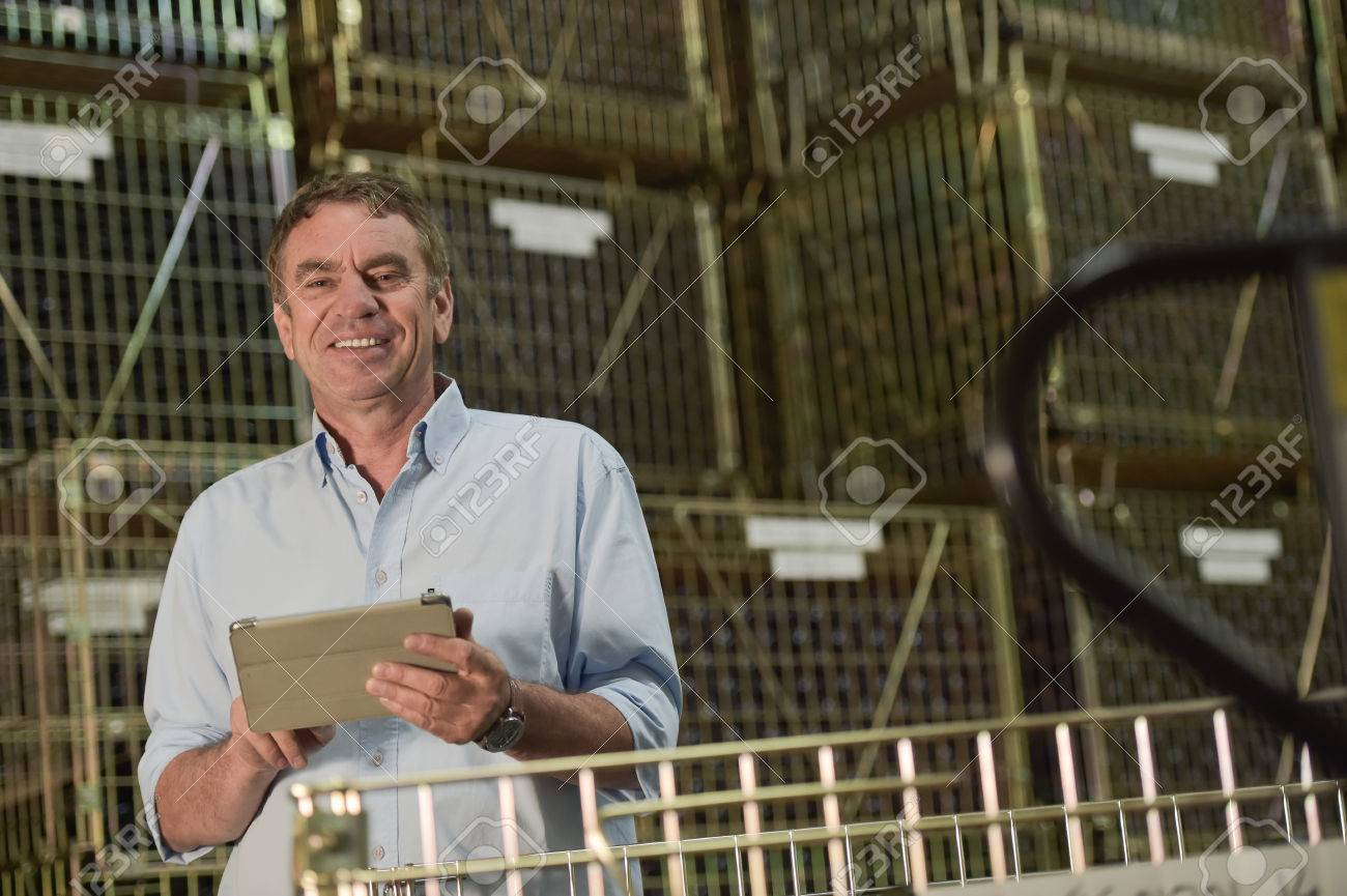 Winemaker working inventory management of its wine bottles in his cellar Stock Photo - 42895328