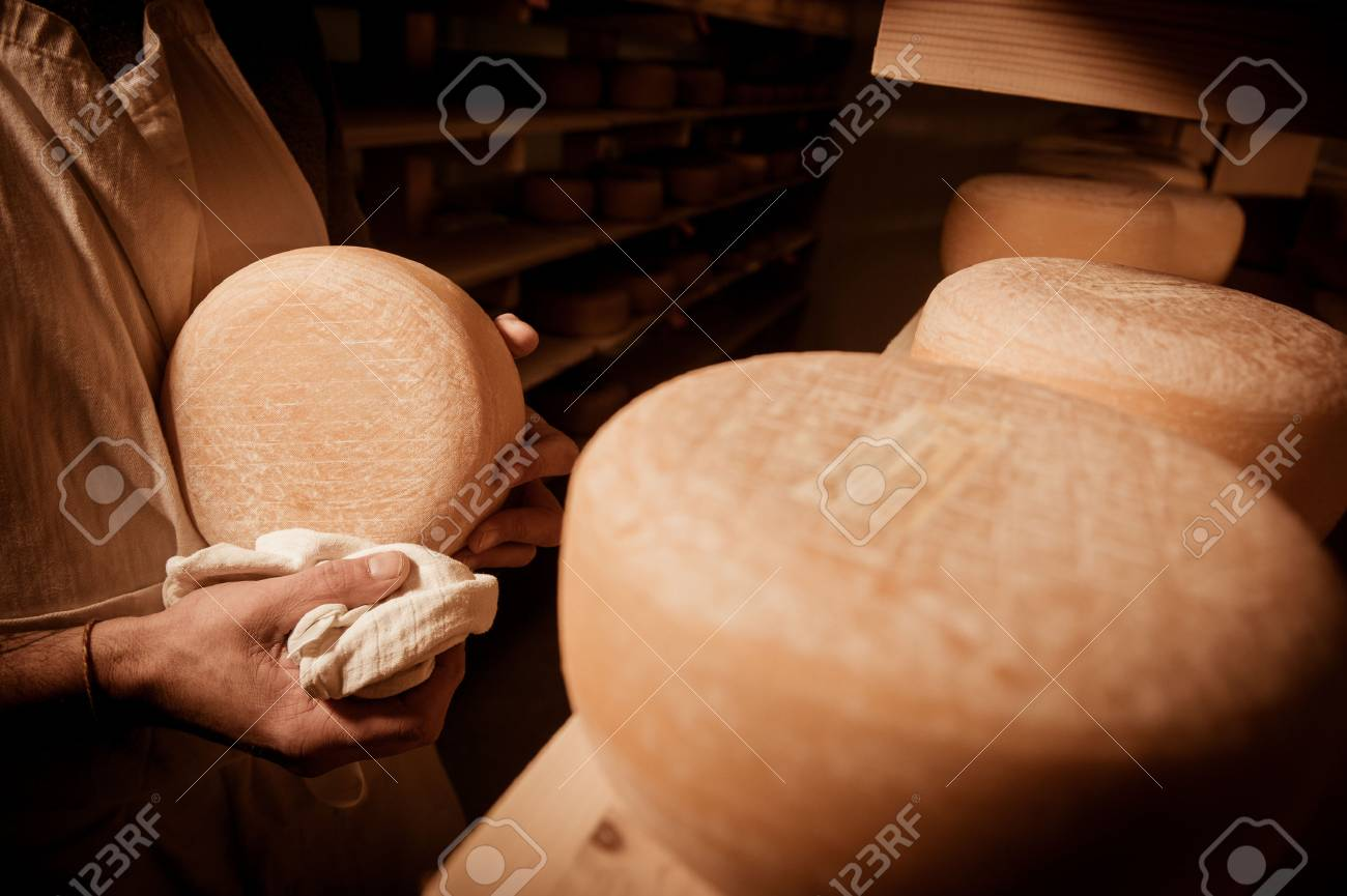 Cheese maker cleaning cheeses in his workshop Stock Photo - 55458800