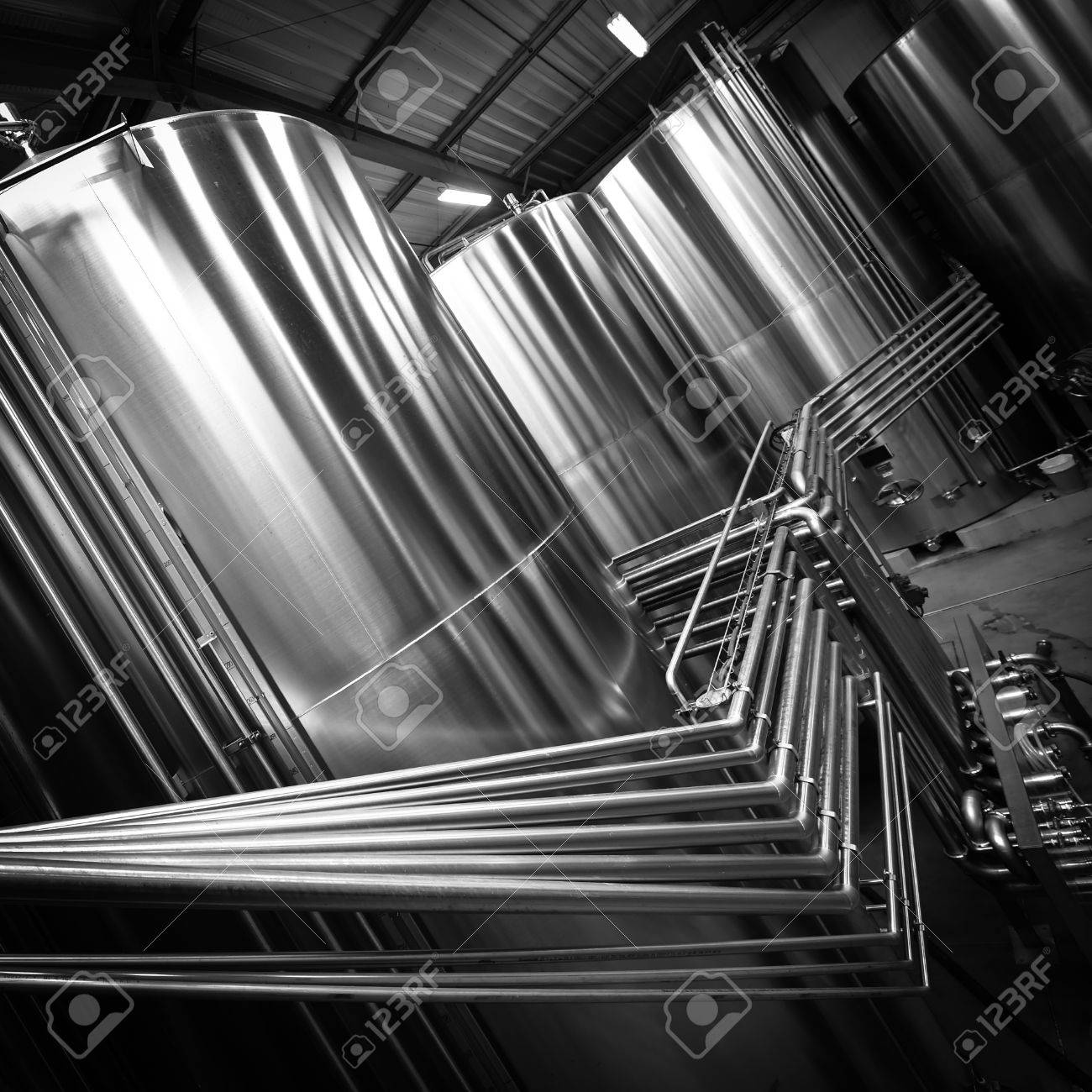 Stainless steel tank at the winery for wine maturation Stock Photo - 56901436