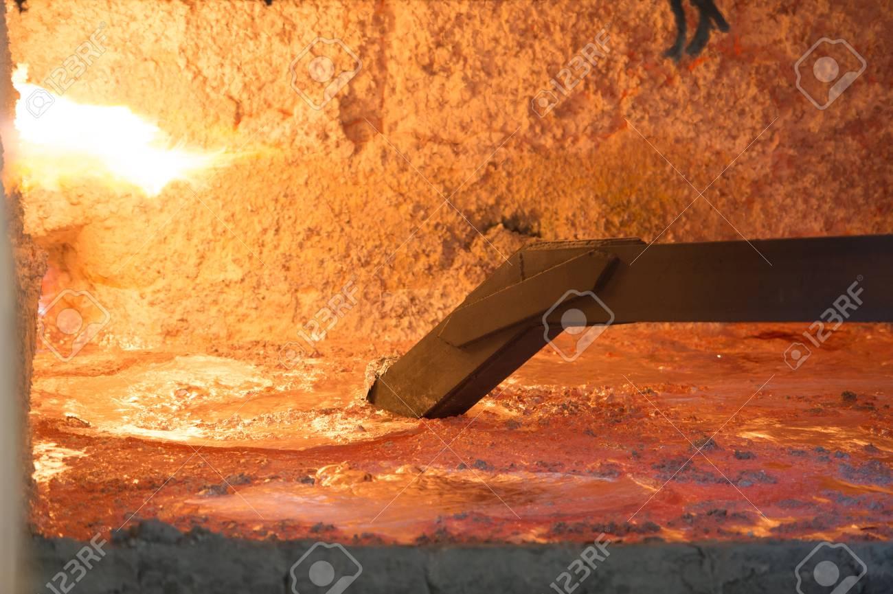 Hot steel pouring in steel plant, iron, aluminium Stock Photo - 71962404