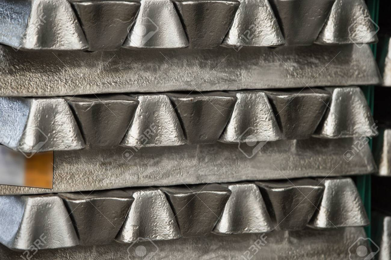 Stack of raw aluminum ingots in aluminum profiles factory, France Stock Photo - 72294059