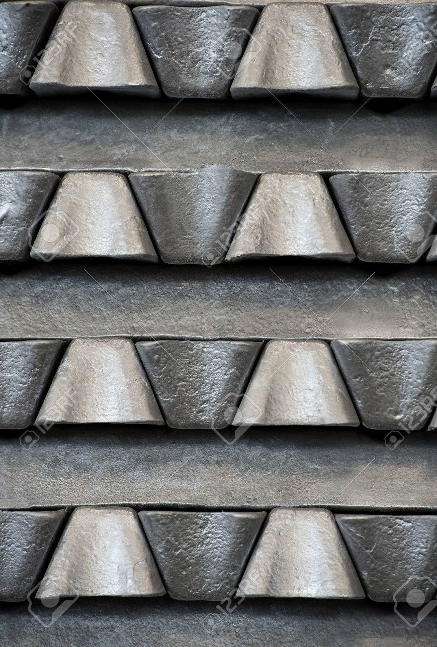 Stack of raw aluminum ingots in aluminum profiles factory, France Stock Photo - 71963267