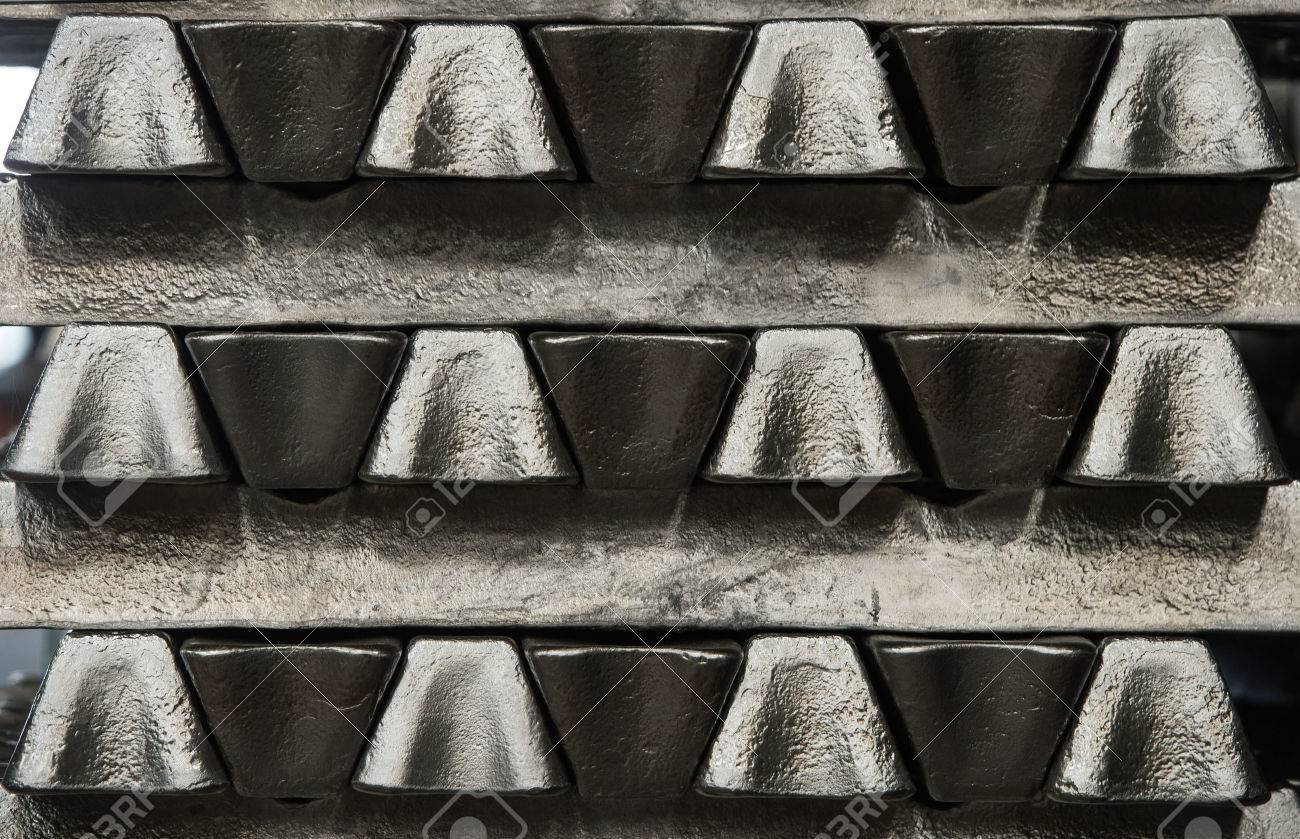 Stack of raw aluminum ingots in aluminum profiles factory, France Stock Photo - 71963213