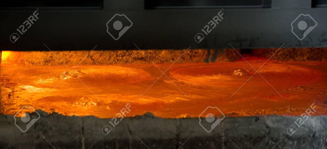 Hot steel pouring in steel plant, iron, aluminium Stock Photo - 71942990