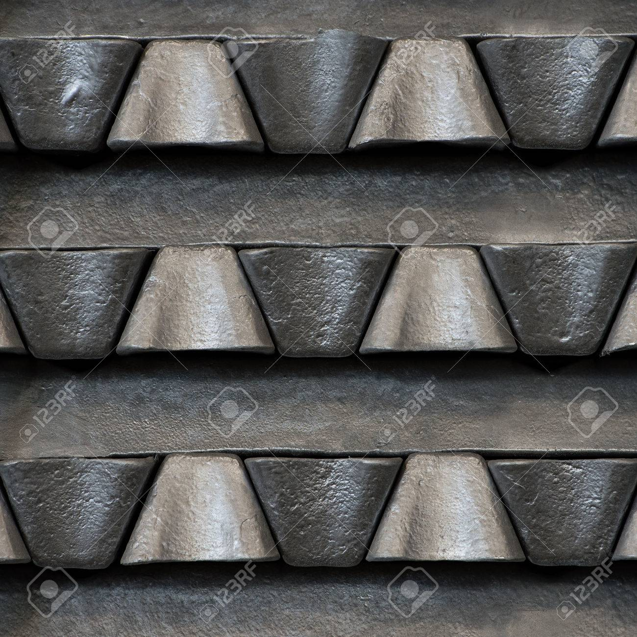 Stack of raw aluminum ingots in aluminum profiles factory, France Stock Photo - 71963278