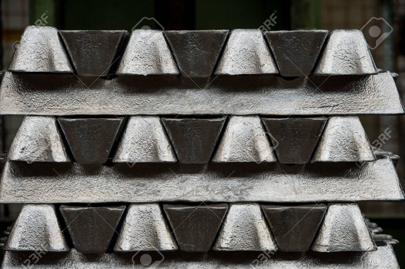 Stack of raw aluminum ingots in aluminum profiles factory, France Stock Photo - 71942307