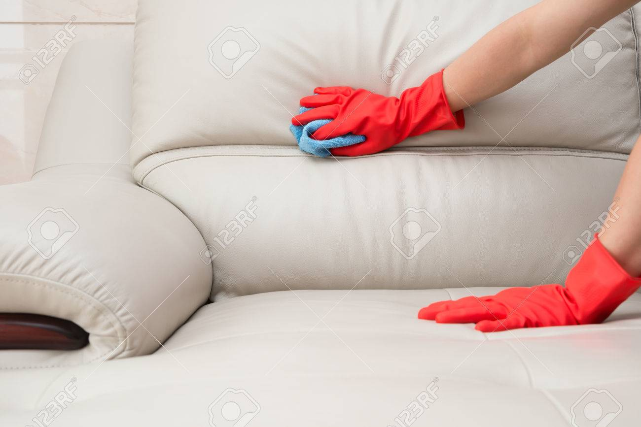 - Cleaning Leather Sofa At Home Stock Photo, Picture And Royalty