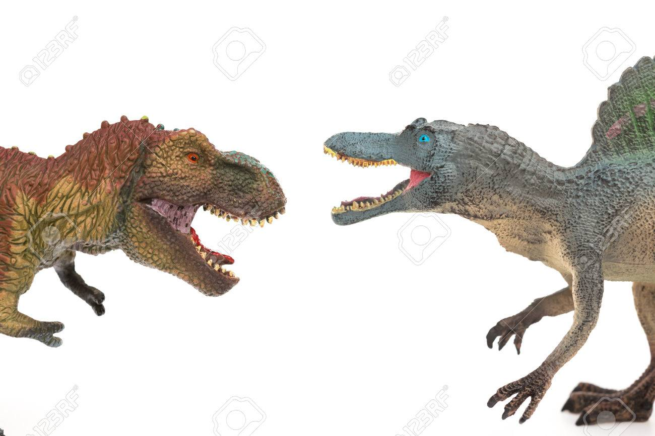 白い背景にティラノサウルスとスピノサウルスのおもちゃ の写真素材