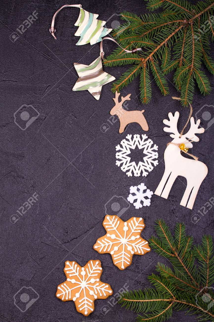 christmas and new year border or frame on black background winter holidays concept view