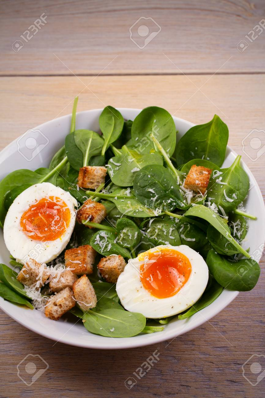 Savory Breakfast Soft Boiled Egg With Toasted Bread Spinach And Parmesan Cheese Healthy