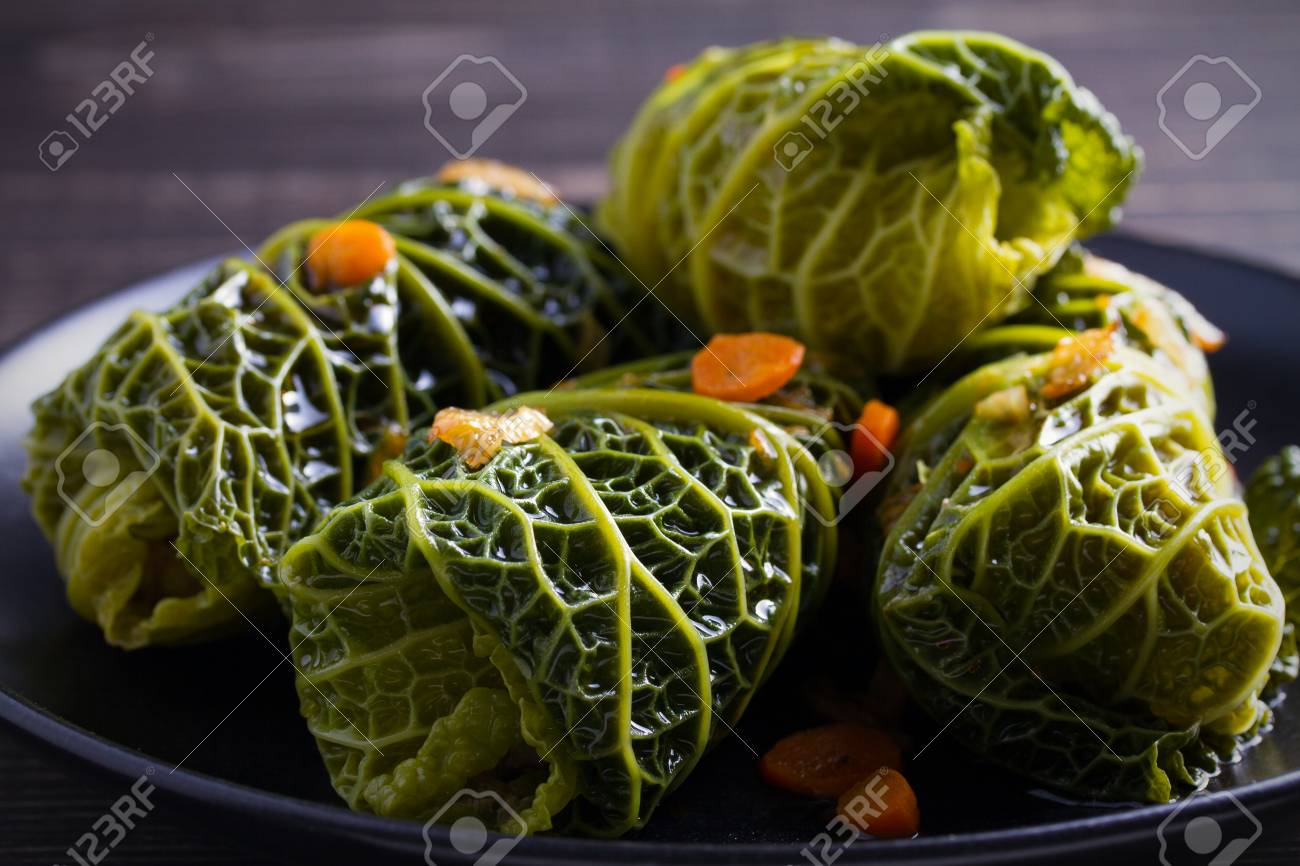 Stuffed Cabbage Leaves Cabbage Rolls Savoy Cabbage Leaves Wrapped Stock Photo Picture And Royalty Free Image Image 98461304