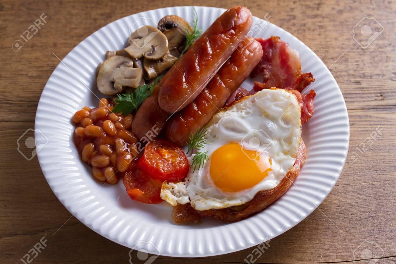 Full English Or Irish Breakfast Sausages Bacon Egg Mushrooms