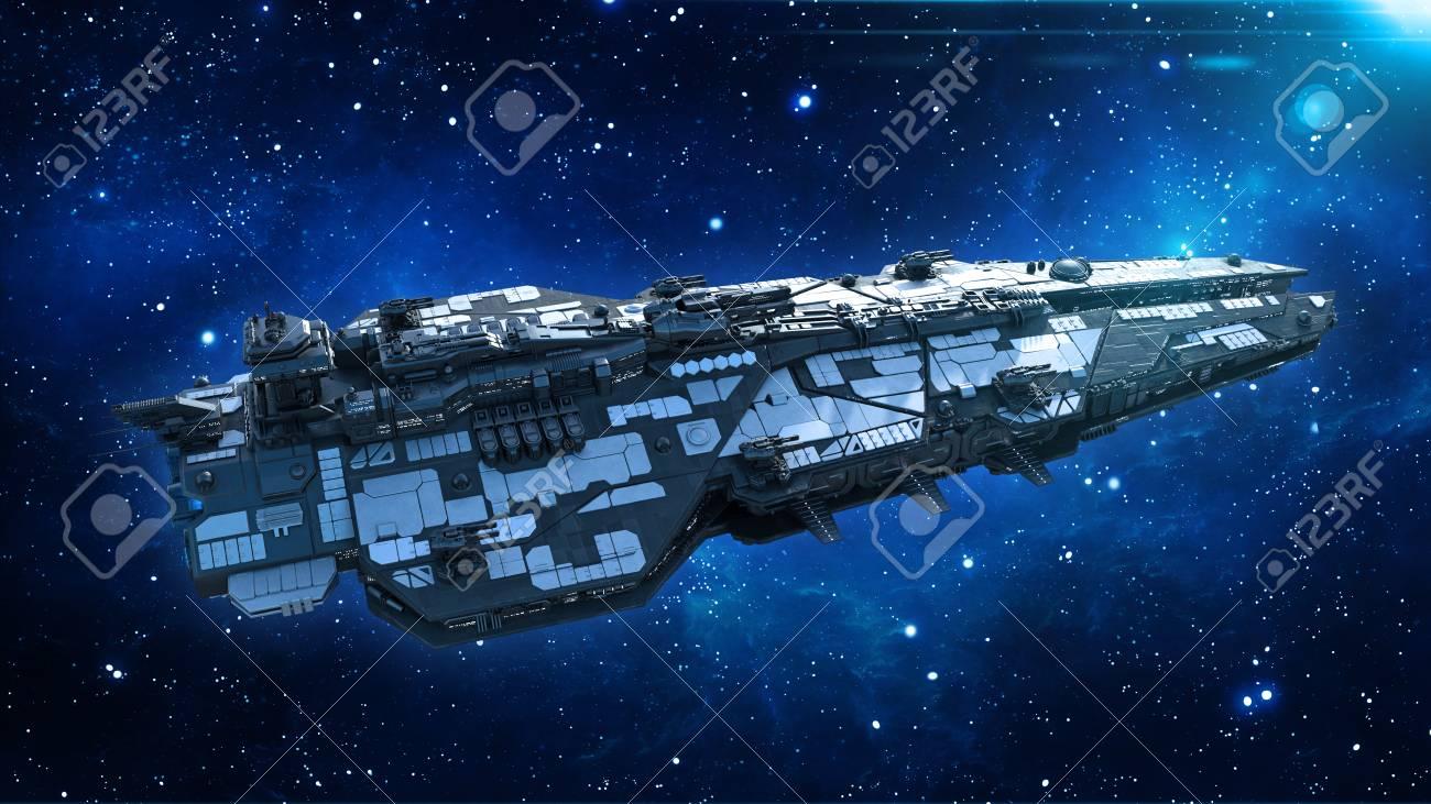 Alien spaceship in the Universe, spacecraft flying in deep space