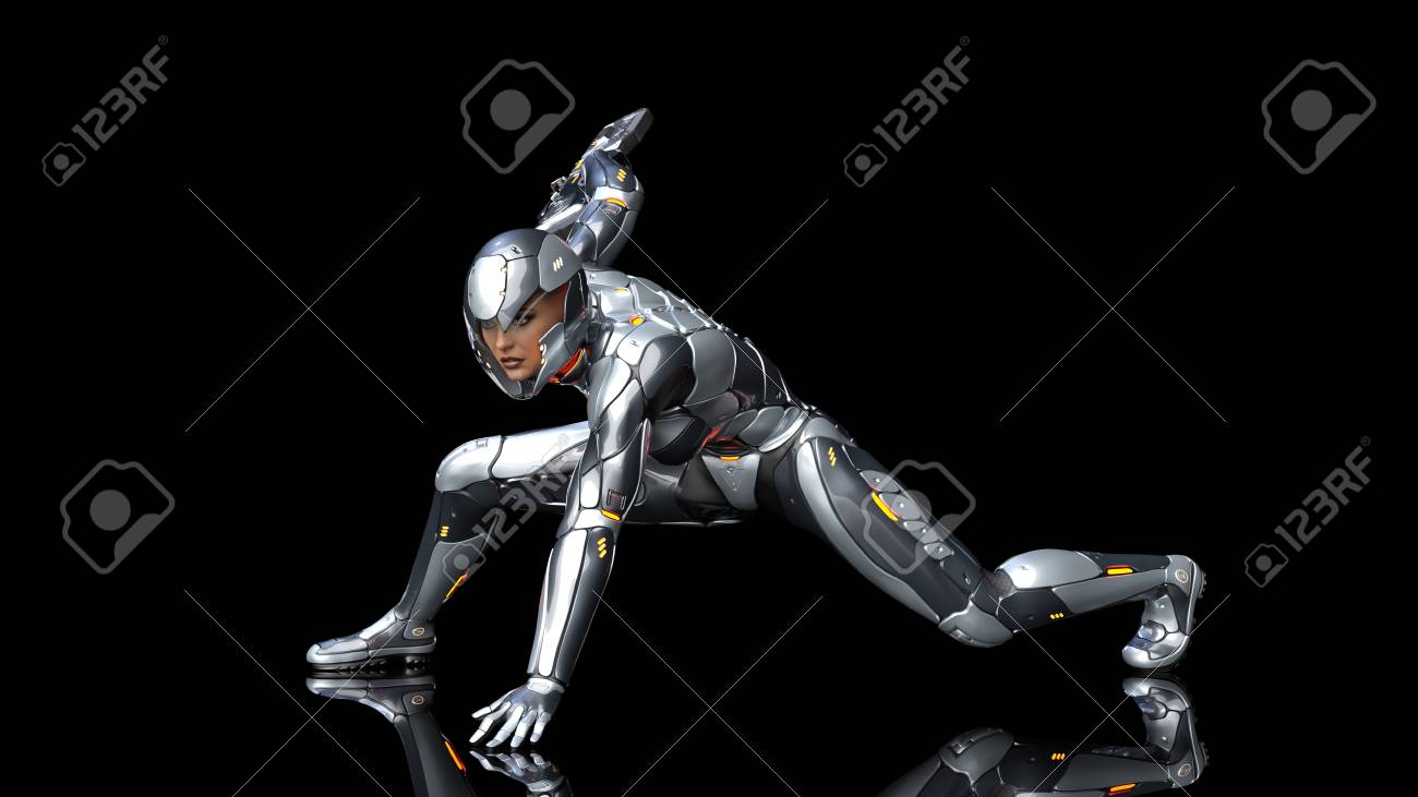 Futuristic Android Soldier Woman In Bulletproof Armor Military Stock Photo Picture And Royalty Free Image Image 122381412
