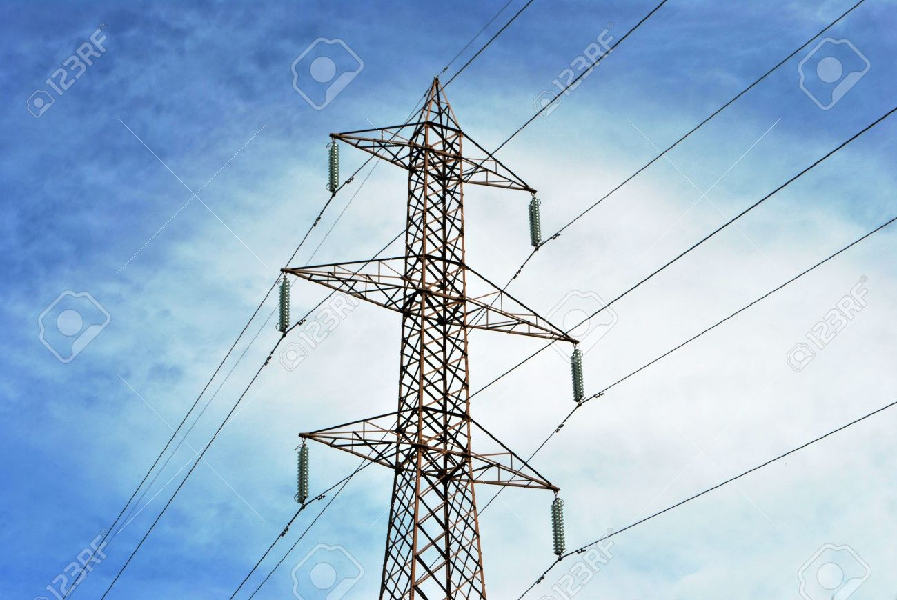 high voltage line and wires with blue sky with white clouds background Stock Photo - 7626032