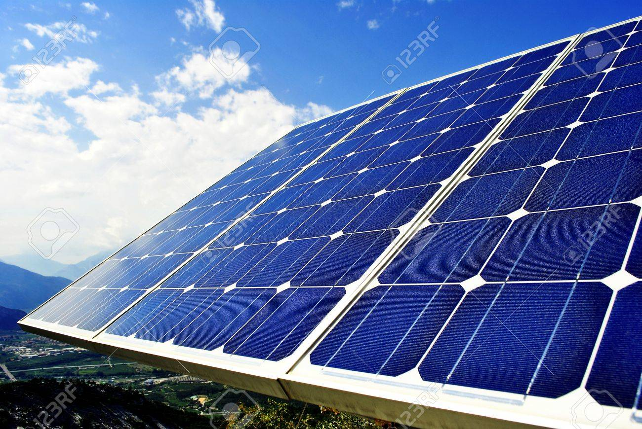 Green economic, solar panels to produce electricity from the sun Stock Photo - 8745435