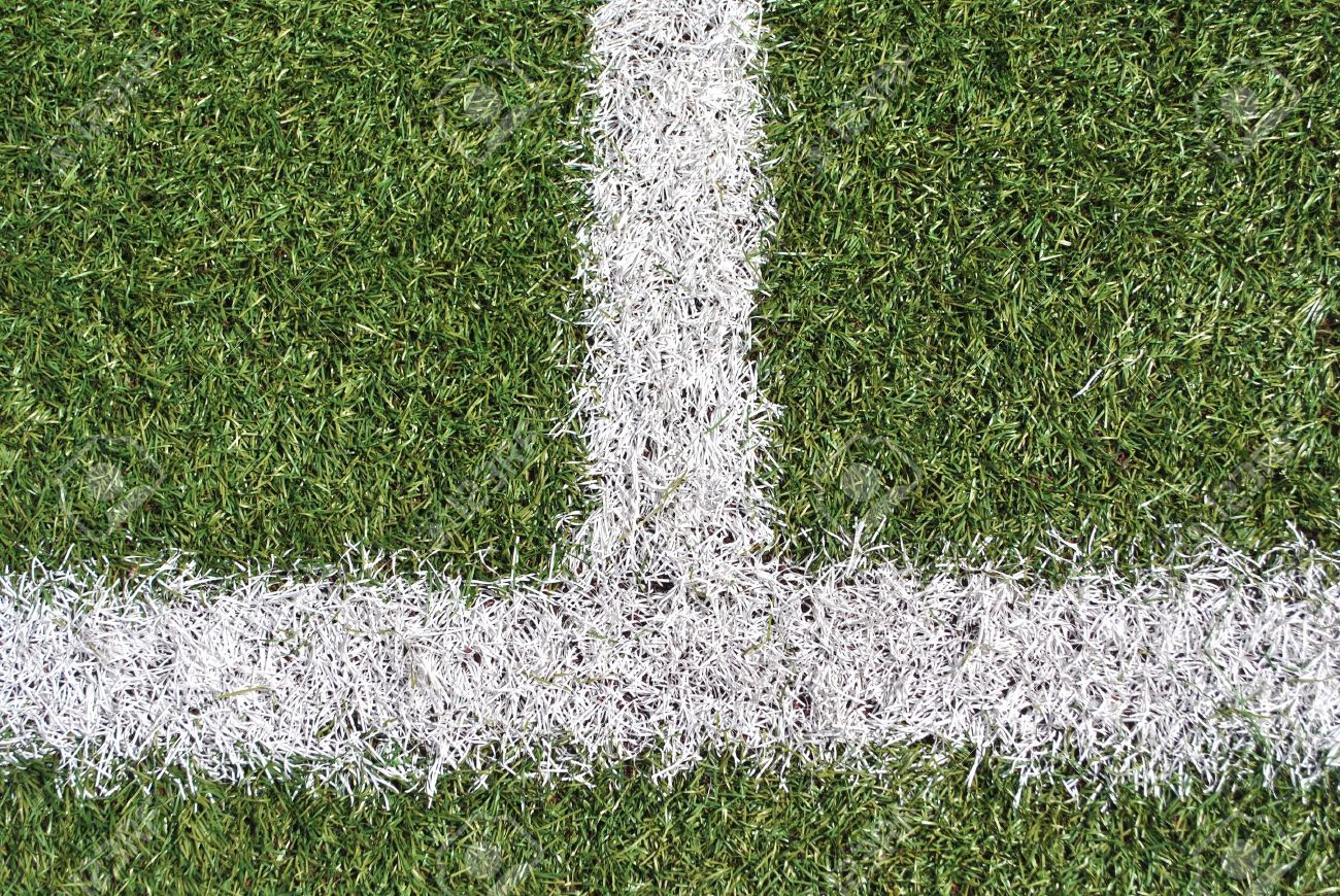 artificial grass with white lines for football field Stock Photo - 8869731