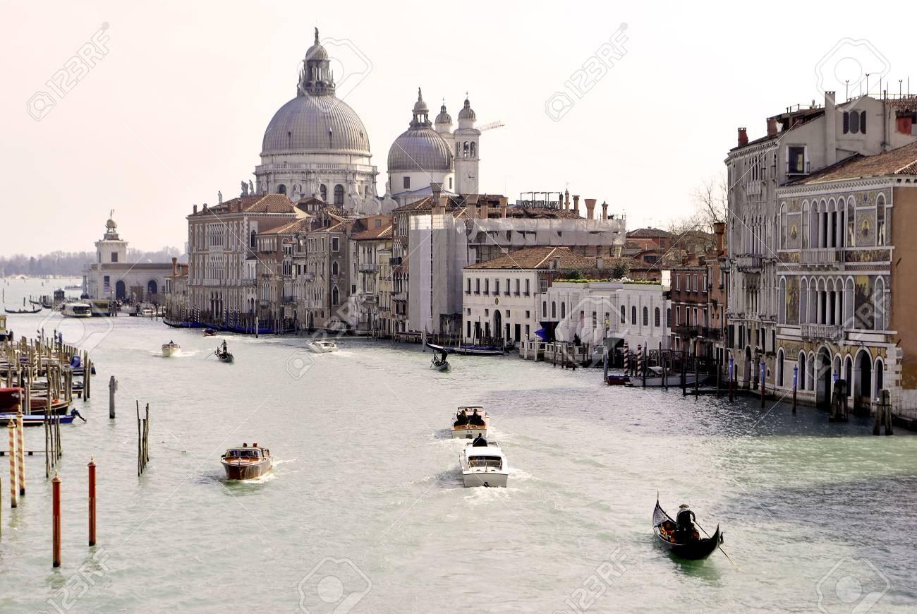 VENICE - MARCH 05: Venice Grand Canal, boats and historic buildings March 05, 2011 In Venice, Veneto, Italy Stock Photo - 9063165