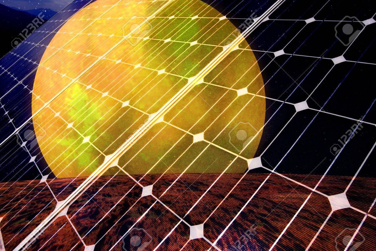 Gradient solar panel with sunsetl, Data Source: NASA Stock Photo - 11161232
