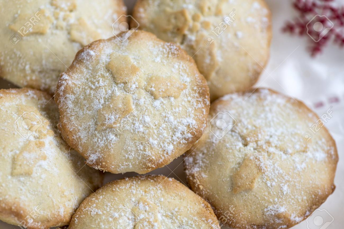 Over Head Image Of Delicious Home Cooked Mince Pies A British