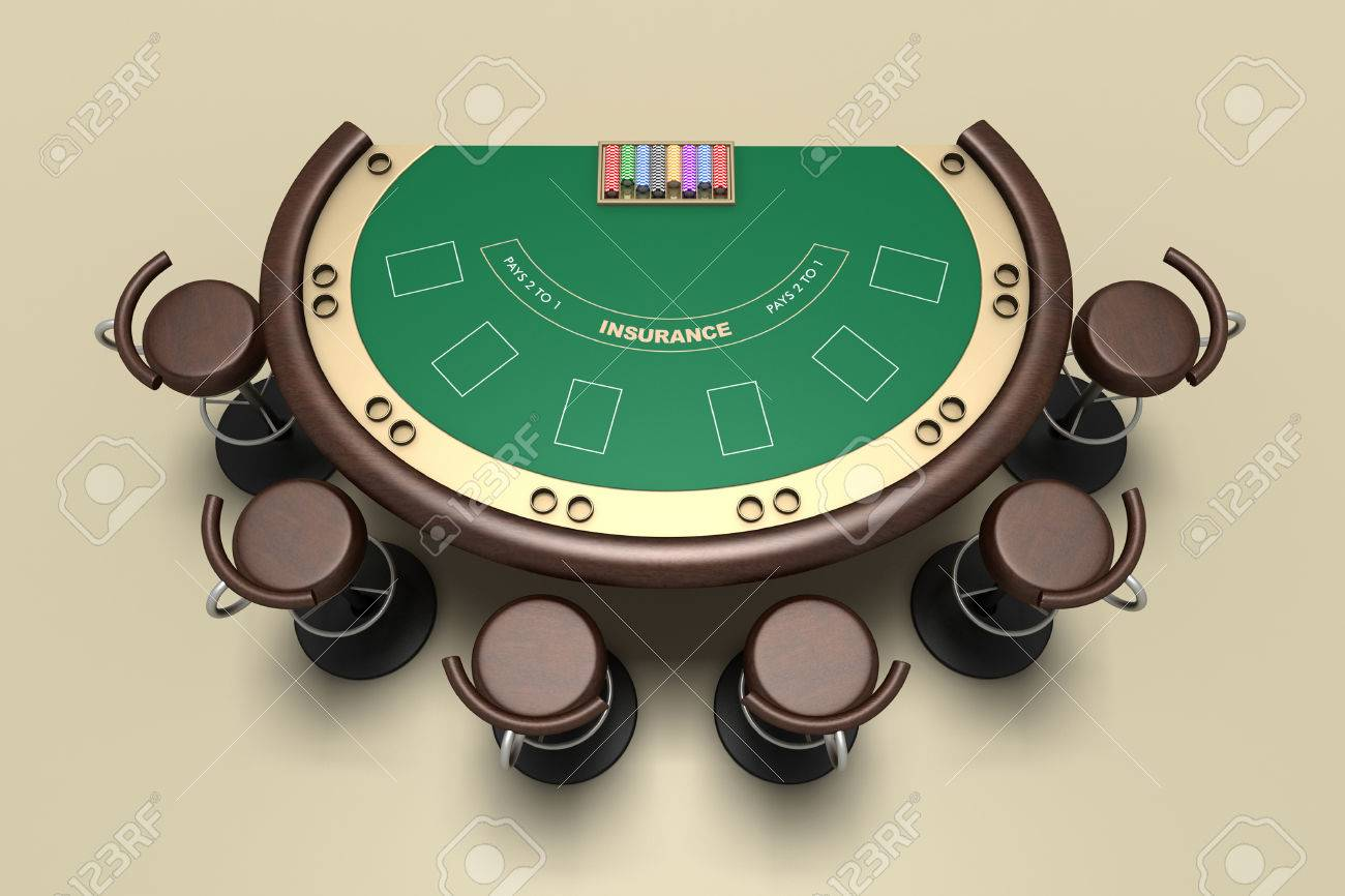 Blackjack Tisch und Stühle mit Teppich Hintergrund