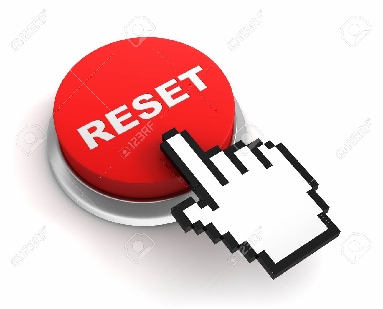 reset button 3d illustration isolated on white background stock