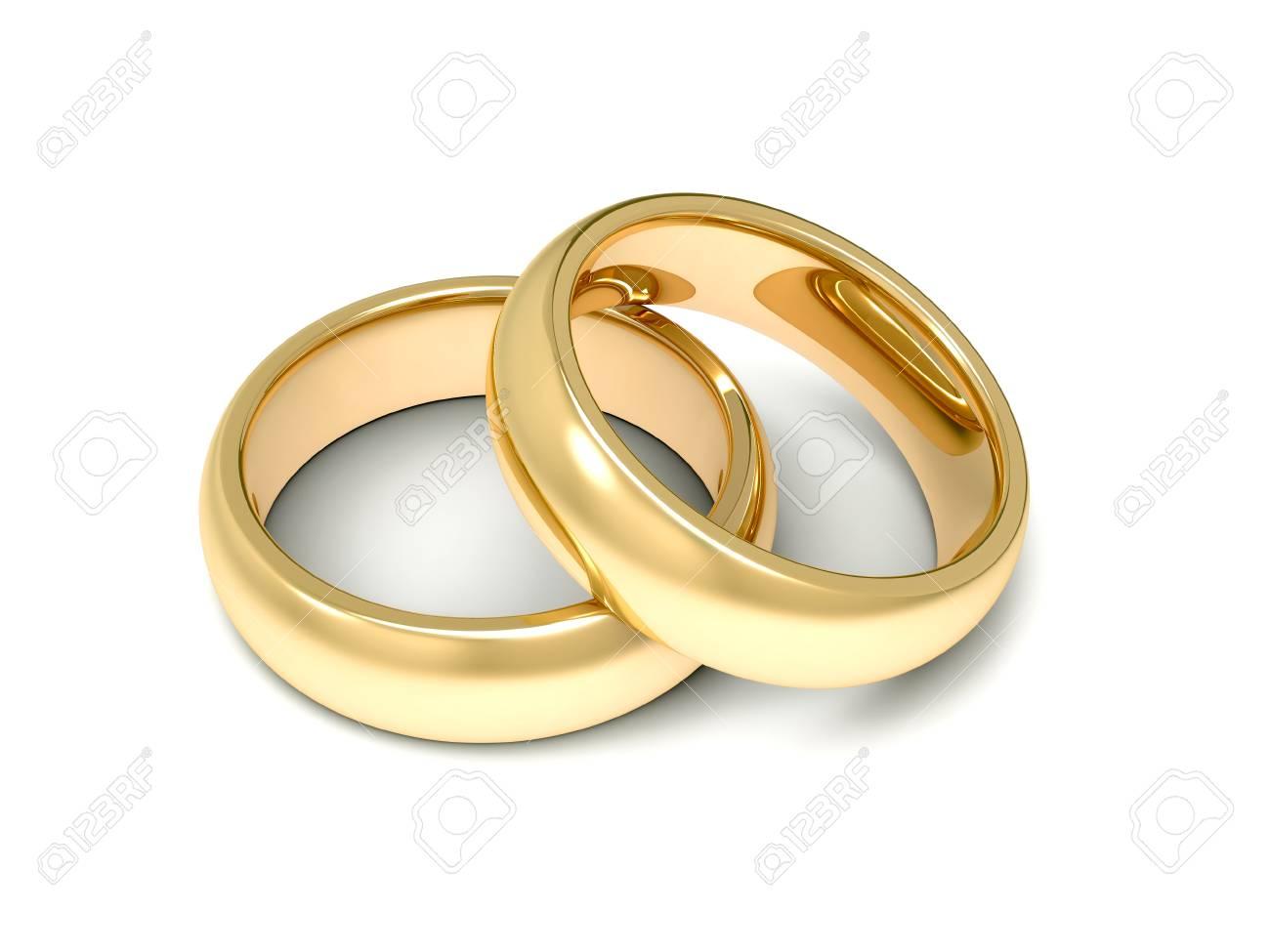 Goldene Hochzeit Ringe 3d Darstellung Auf Weissem Hintergrund